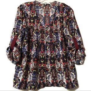Collective Concepts black blue red blouse medium